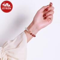 手链女韩版简约学生个性草莓晶月光石手串首饰女粉水晶流行饰品