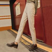 茵曼休闲裤女显瘦百搭冬新款高腰长裤哈伦裤绒面时尚小腿裤【1804193】