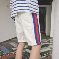 夏季薄款男士撞色休闲短裤宽松条纹运动裤五分裤青年学生潮流中裤