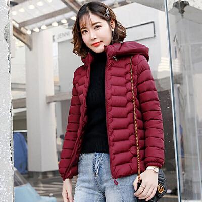 【双十一提前购!1件6折】棉衣 女士短款羽绒棉服2019冬季韩版女式保暖大码修身棉袄学生加绒连帽外套 女士加绒短款连帽外套