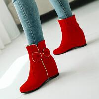 女童靴子春秋韩版童鞋蝴蝶结公主短靴内增高小女孩单靴马丁靴