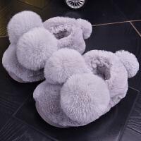 冬季包跟棉拖鞋女卡通可爱室内保暖居家子一家三口毛毛拖男