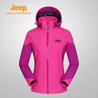 【满299减200】Jeep/吉普 女款户外单层冲锋衣防风防泼水透气风衣外套J656010113