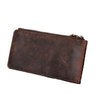 双拉链长款钱包卡包一体包头层牛皮男士钱夹手工原创复古疯马皮女 深咖啡