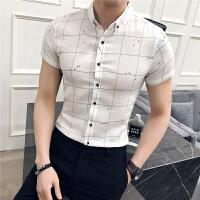 夏季衬衫男短袖修身韩版潮流帅气百搭男士格子半袖衬衣休闲寸衫潮