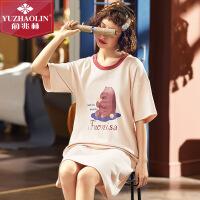 俞兆林春夏新款女士印花家居服睡裙甜美可爱棉质短袖圆领睡裙Ⅰ