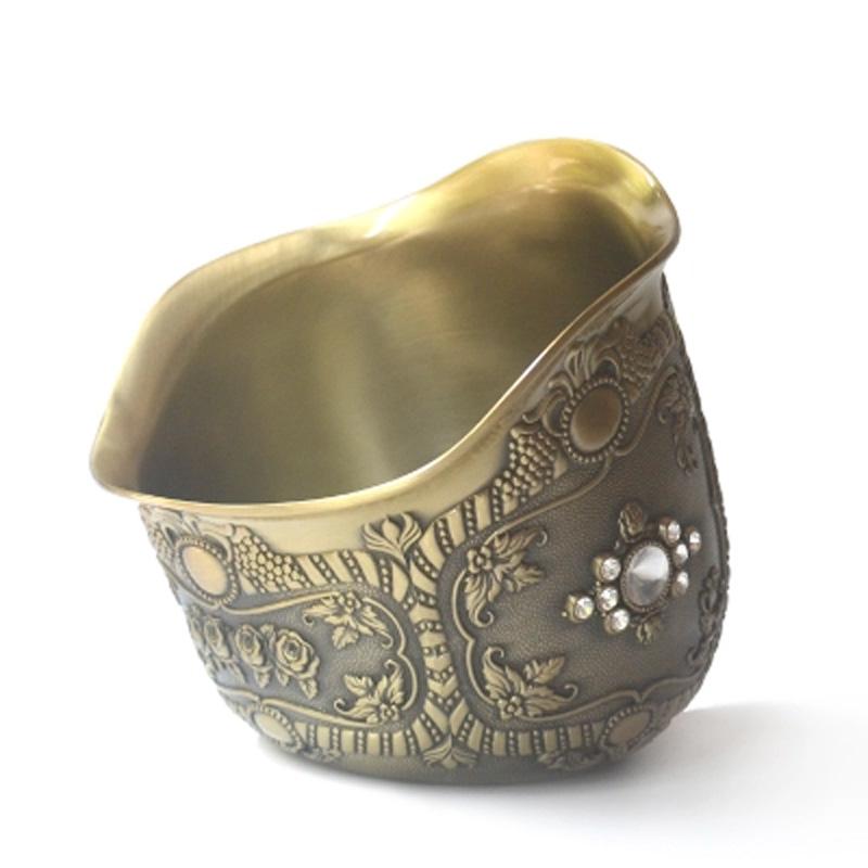 精美桌面垃圾桶青铜色垃圾碗斜口碗收纳桶酒桌KTV家居装饰用品