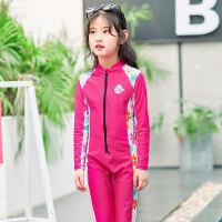 潜水服女连体长袖长裤防晒泳衣儿童中大女童浮潜服游泳水母衣套装 红色