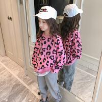 女童卫衣春装时尚洋气豹纹宽松儿童春季长袖上衣潮