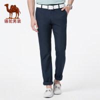 骆驼男装 2019春季新款青年中腰直筒轻薄休闲裤男士纯色透气长裤