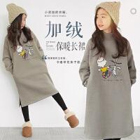 秋冬韩版女童装纯棉卡通加绒加厚长袖连衣裙中大童儿童长款卫衣裙