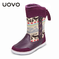 UOVO新款儿童雪地靴童鞋秋冬儿童童靴女童鞋女童雪地靴亲子鞋中筒毛绒女童靴子 驯鹿