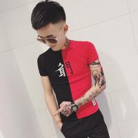 夏季男士圆领T恤青少年个性撞色刺绣短袖体恤衫韩版修身半袖上
