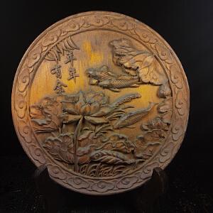 黄杨木雕刻年年有余