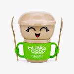 当当优品 壳氏唯稻壳环保创意可爱 儿童宝宝餐具套装勺子叉子水杯小卫士-乐乐