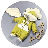 新生儿连体衣服冬季加厚男女宝宝外出服0-3-6个月婴儿哈衣爬爬服1