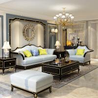 美式轻奢实木真皮沙发欧式新古典客厅家具整装1+2+3组合沙发