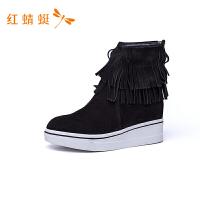红蜻蜓女鞋纯色拉链圆头流苏时装靴防滑保暖中跟女中靴子