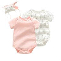婴儿连体衣服宝宝新生儿季爬爬服0岁6个月款短袖三角哈衣