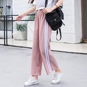 闲裤女韩版女装白边条纹运动裤潮流九分阔腿裤宽松裤子