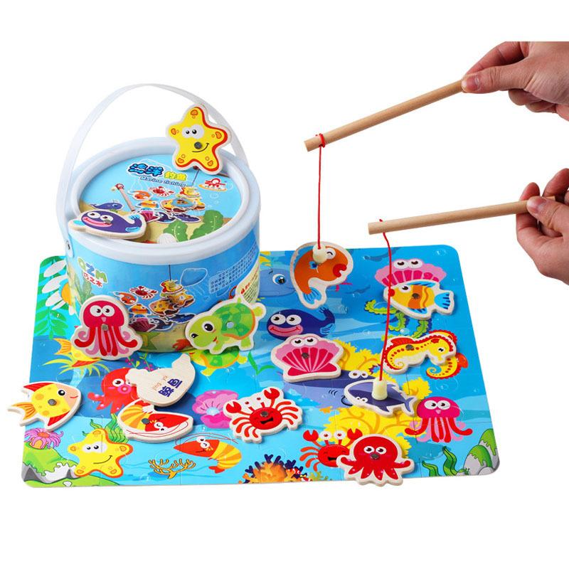 木制桶装双杆磁性海洋钓鱼玩具儿童益智玩具男孩女孩手眼协调玩具