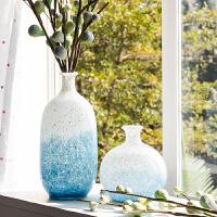 北欧渐变玻璃干花花瓶简约现代家居客厅插花餐桌假花摆件