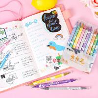 金属秀秀笔彩色软硬双头手账笔学生用黑卡DIY相册贺卡油漆笔