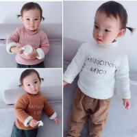 22直播 冬季婴儿童宝宝双层加绒圆领套头字母印花卫衣加厚小童装
