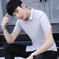 夏装新款小码XS码S号瘦小男女韩版修身青年商务短袖半袖衬衫衬衣5