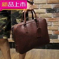 男包男士手提包包横款单肩斜挎包商务休闲公文包电脑包皮包皮 咖啡色 全场满2件送手包
