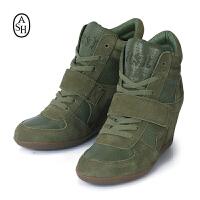 ASH艾熙 意大利品牌高帮内增高女靴 全真皮女鞋 93681_005