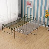 折叠床加固双丝钢丝床弹簧床软床单人午休床陪护床简易铁条床 14公斤 钢丝床-银灰色