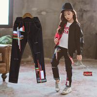 女童牛仔裤秋季时髦裤子中大童女孩韩版洋气牛仔长裤潮裤