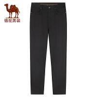 骆驼男装 秋冬新款时尚都市男士纯色裤子中腰弹性直筒休闲裤