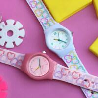韩版糖果色女童表 时尚卡通儿童手表 女孩可爱学生表男童款彩印表带手表