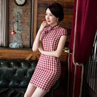 短款短袖日常文艺复古优雅年会日常年轻格子旗袍连衣裙少女素色