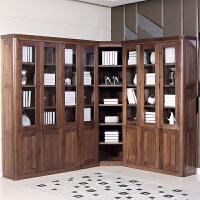 现代简约黑胡桃木实木书柜木质转角书柜组合书房家具大书橱