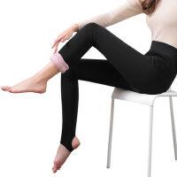 加绒加厚秋冬外穿特厚护膝石墨烯超厚棉裤袜保暖蚕丝羽绒裤女