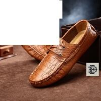 秋季豆豆鞋男士休闲皮鞋鳄鱼纹透气英伦一脚蹬懒人男鞋