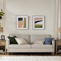 单/三人沙发搁脚凳美式小户型客厅布艺沙发 美式时尚造型(弧线线条 铆钉点缀)