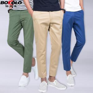 2件9折 3件8折 夏季薄款纯棉九分休闲裤男士 伯克龙宽松直筒小脚青年9分裤子D604