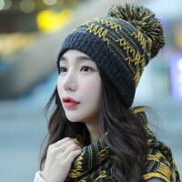 帽子女韩版毛线帽子围巾两件套潮加绒保暖时尚护耳针织帽
