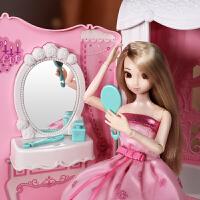 女孩洋娃娃玩具公主�粝牒勒�套�b�Q�b大�Y盒仿真�和�拉�U玩具