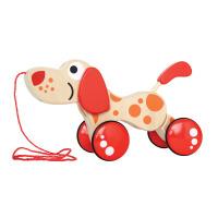 Hape拖拉狗木制10个月以上宝宝学步益智玩具小狗E0347