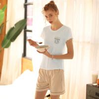 【促销价:仅89元】芬腾睡衣女棉质夏季新款条纹简约短袖短裤休闲家居服套装