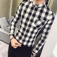 2018春季长袖衬衫男韩版修身发型师个性休闲格子衬衣夜店青年潮流