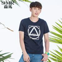 森马短袖T恤 夏装 男士印花纯棉图案打底针织衫韩版潮男
