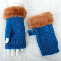 保暖��露指手套加厚�n版�W生毛�打��X手套女冬半指