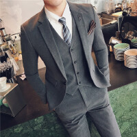 一套新郎西服套装男士结婚礼服三件套韩版青年修身小西装小号S码