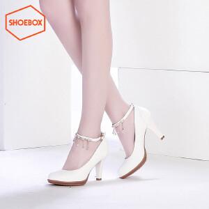 达芙妮旗下鞋柜浅口圆头粗高跟水钻时尚单鞋